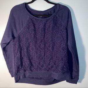 Apt 9 Relaxed Lace Front Sweatshirt Size large